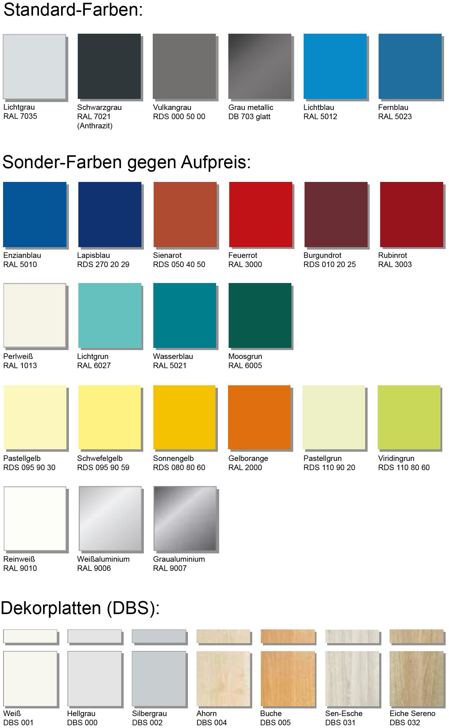 PSC Schrankfarben